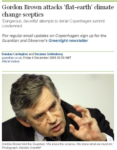 """Gordon Brown begs the question: """"We know the science."""""""
